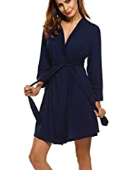 Idea Regalo - UNibelle Pigiama Donna Vestaglie e Kimono Cotone Scollo a V Camice da Notte Corto da Notte Nightdress S-XXL