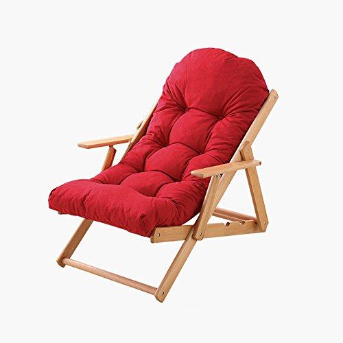 Amazing Lounge Chair Folding Mittagspause Lounger Lounger Klappbüro Rocker Stuhl Lounger Holz Balkon Stuhl ( Farbe : Rot ) (Rocker-liegestuhl)