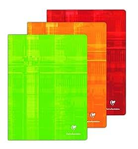 ClaireFontaine - Réf 63311AMZ - Cahier Piqué 48 Pages 24x32 cm Grands Carreaux Coloris Assortis - Lot de 3