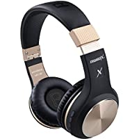 Bluetooth Headphones, Riwbox XBT-80 Wireless foldable Headset Over Ear Bluetooth headphones with Microphone and Volume Control for Cellphones iPad iPhone TV Laptop Computer (Black&Gold)