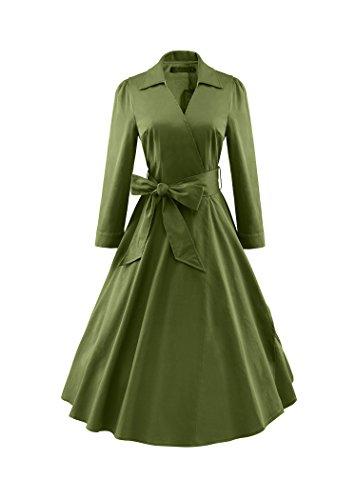 iLover Damen Elegant 3/4 Ärmel V-Ausschnitt 40er Retro Cocktailkleid Rockabilly Party Kleid ArmyGreen