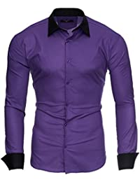 KAYHAN Homme Chemise Slim Fit Repassage facile, Manches Longues Modell - Milano