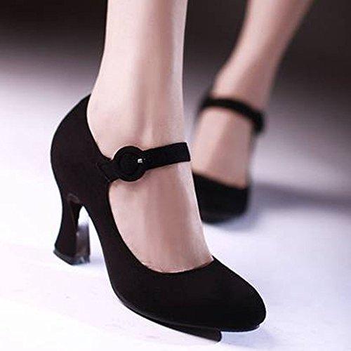 COOLCEPT Damen Klassische Mary Janes Pumps Knochelriemchen Schuhe Blockabsatz Schwarz
