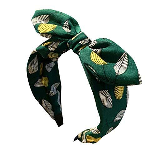 kolila Billig Stirnband Haarspange Ausverkauf Womens Cute Bow Zubehör Blatt drucken Breitseite Haarband Damen Mädchen Stirnbänder(Grün)