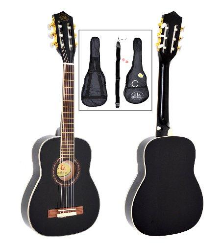 ts-ideen 1/4 Kinder Konzertgitarre Schwarz mit Palisander für 4-7 Jahre mit Zubehörset (Tasche, Gurt, Saiten, Stimmpfeife und 2 Plektren)