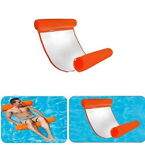 Towinle Wasser Hängematte, Wasser Luftmatratze Aufblasbare Pool Schwimmbad Wasser Luftmatratze mit Kopf- und Fußteil für Schwimmbad Mesh Lounge (Orange 1)
