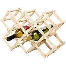 Alytimes Estante para vino de madera plegable con forma de diamante y capacidad para 10 botellas.