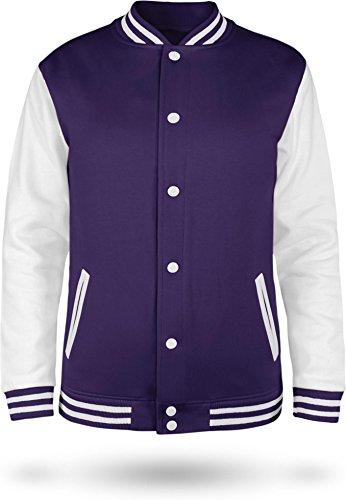 Kinder College Jacke für Jungen und Mädchen mit Ärmeln in Kontrastfarben Farbe Purple/White Größe 11-13 (152)