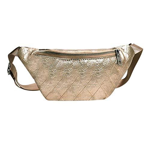 OKMPL New Plaid Pu Leder Hüfttasche Frauen Mädchen Brust Schulter Fanny Bum GürtelSteet Telefon Schlüssel Taille Taille Taschen Goldene Farbe -