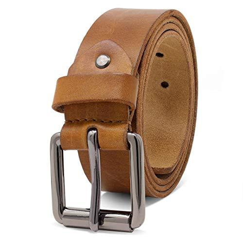 ROYALZ Ledergürtel Herren aus robusten 4mm Büffel-Leder, Vintage Jeans-Herren-Gürtel mit Dornenschließe Voll-Leder 38mm, Farbe:Braun, Größe:135
