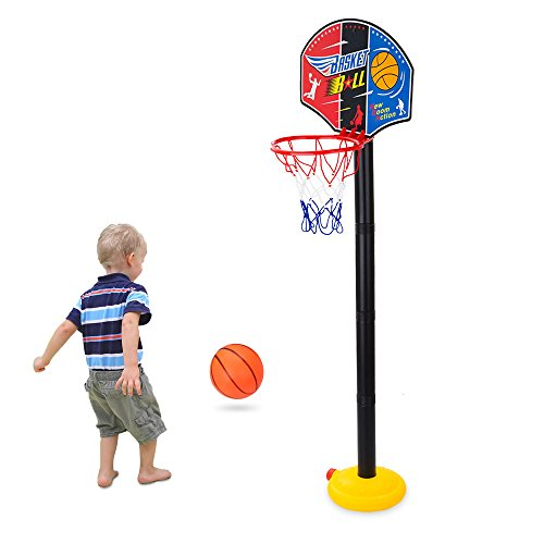 Zipom Basketball Hoop Kids Basketball Stand with Net and Ball Outdoor IndoorAdjustable Sport Game Play Set for 3 Years Old and up Toddler Baby Sports
