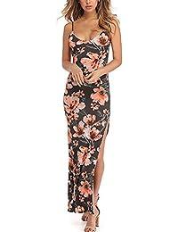 Mujer Vestidos Largos De Verano Elegantes Vintage Estampado Flores Vestido Playa Sin Mangas Slim Espalda Descubierta
