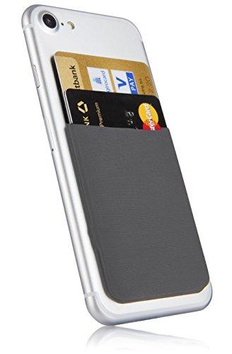 MyGadget Kartenhalter für Smartphones - RFID Blocking Haftendes Kartenfach, Kartenhülle, Karten Halterung - Geldbörse fürs Handy Etui Wallet in Grau