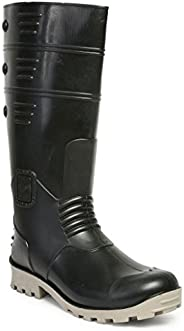 Hillson Torpedo Safety Gumboots with Steel Toe, Black-Grey 1 Pair
