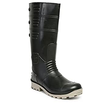 14e627a5814 Hillson TC07HLS0022 Torpedo Safety Gumboots with Steel Toe (Black-Grey, UK  Size 11) 1 Pair