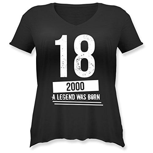 Shirtracer Geburtstag - 18 Geburtstag Jungs - Weit Geschnittenes Damen Shirt in Großen Größen mit V-Ausschnitt Schwarz