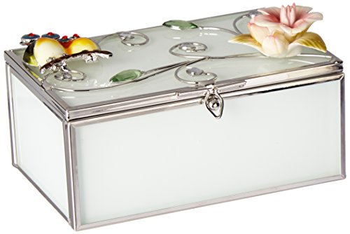 stealstreet ss-a-38118Rechteck Schmuck Box mit Eule Paar und Porzellan Blooming Flower (Ss-porzellan)