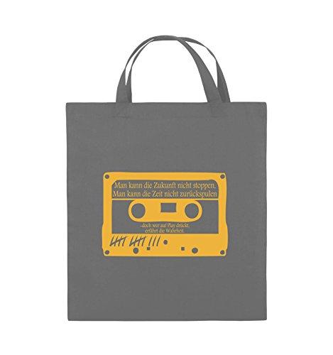 Buste Comiche - Ragazze Morte Non Mentono - Cassetta - Borsa In Juta - Manico Corto - 38x42cm - Colore: Nero / Argento Grigio Scuro / Giallo