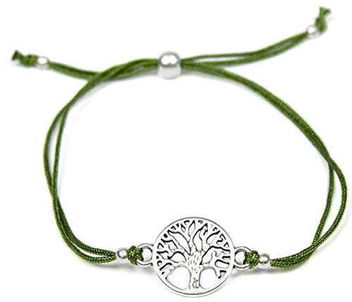 Milosa Armband Frauen Lebensbaum Silber - Handmade - größenverstellbares Textil-Band - Armkette - bracelet - Geschenk, Armbänder Makramee:Grün