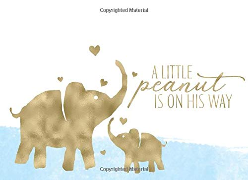 A Little Peanut Is On His Way: Blue Watercolor and Gold Boy Baby Shower Guest Book And Gift Recorder