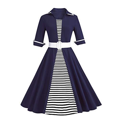 Yieks Damen Vintage Marine Kleid mit Gürtel, Marinenblau 44 (Herstellergröße: XXL)