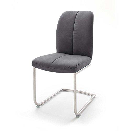 MÖBEL IDEAL Stuhl Tessera 2er Set in Grau Braun Polsterstuhl mit Kufengestell oder Freischwinger Schwingstuhl