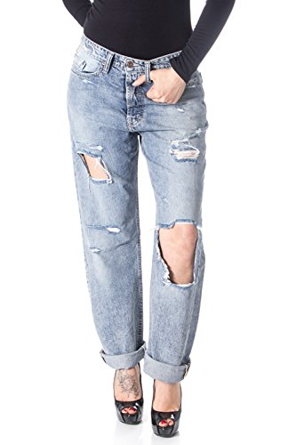 Please jeans donna p30 baggy strappato baggy m denim chiaro