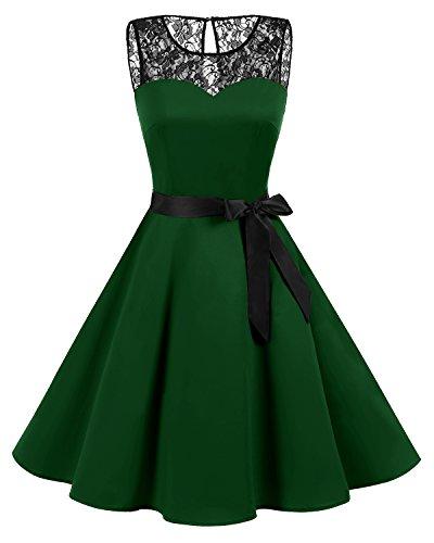 Bbonlinedress 1950er Ärmellos Vintage Retro Spitzenkleid Rundhals Abendkleid Dark Green 4XL
