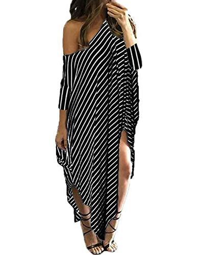 Kidsform Damen EIN Schulter Kleid Sommer Strandkleid Langes Streifen Maxikleid Streifen EU 46/Etikettgröße XL - Lang Sommer Kleid Für Den