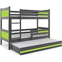 Etagenbett RINO 3 190x80cm grau/grün inkl. Matratzen + Lattenroste preisvergleich bei kinderzimmerdekopreise.eu