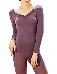 Zhhlinyuan Mujeres Women's Winter Warm Thin Lace V-neck Body Shaped Thermal Underwear Suits