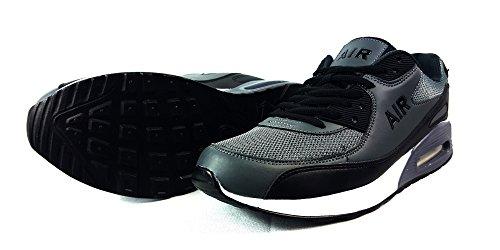 Herren Turnschuhe Sneaker Sportschuhe, Gewebe, W/Grey/Black, UK7 / EUR 41