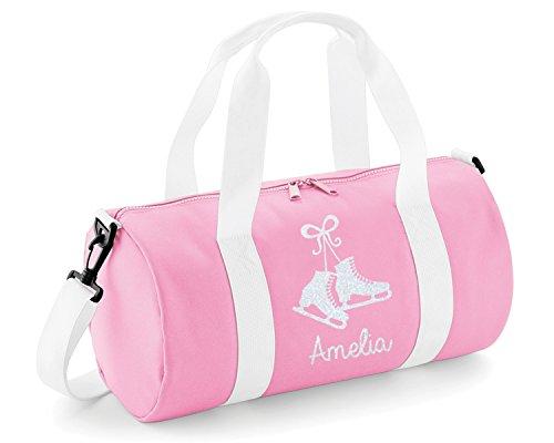 Beyondsome Kinder Personalisierbar Glitzer Schlittschuh Barrel Bag, Baby Pink & White/White Glitter Print, 40x20x20cm