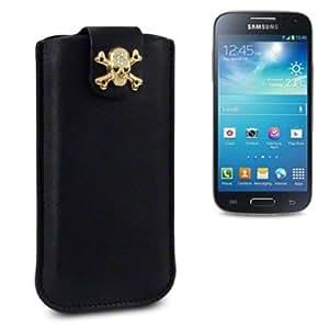 Samsung Galaxy S4 Mini i9190 Pocket Case Cover Pouch Sleeve The Keep Talking Shop® (Black Skull)
