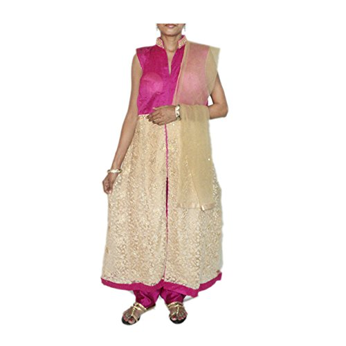 Indian Archies Women's Net Embroidered Kurta And Palazzo Pant Semi-Stitched Dress Material-Golden Pink