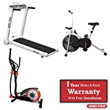 Energie Fitness Combo Pack : Energie Fitness Home use - EHT 001- Motorized Treadmill + Magnetic Elliptical Cross Trainer- EHE 111 + Upright Bike EAB - 101 with Digital Meter-Exercise Cycle with Solid Body