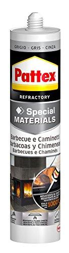 Pattex Silicona barbacoas y chimeneas, gris, resiste al fuego, 500gr