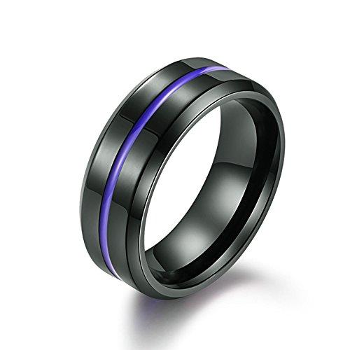 Bishilin Titan Herren Ring Titanring Blau Linie Rund Breite 8 MM Freundschaftsring Schwarz Ring Größe 54 (17.2)