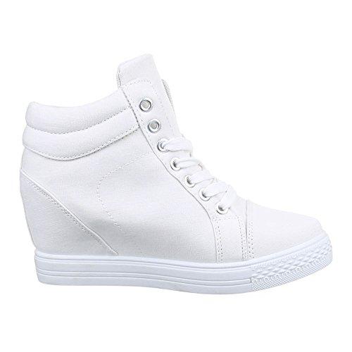 Damen Schuhe, 51152-Y, FREIZEITSCHUHE KEILABSATZ HIGH-TOP SNEAKER HIGH-TOP KEILABSATZ Weiß