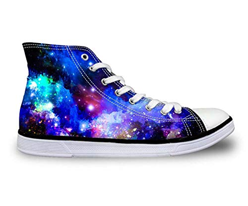Galaxy High Top Canvas Shoes Women Fashion Flat Comfort Shoes Lace-up Sneakers 6 Blue Galaxy US 4