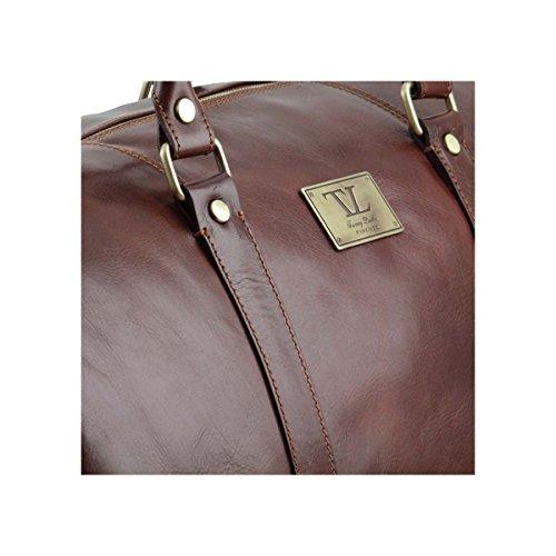 Tuscany Leather - TL Voyager - Sac de voyage en cuir avec poche à l'arrière - Grand modèle Marron foncé - TL141247/5 Marron