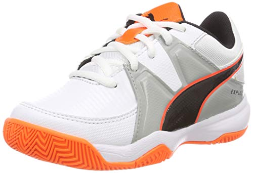 Puma Unisex-Kinder Explode 3 JR Handballschuhe, Weiß White-Quarry-Shocking Orange 2, 36 EU