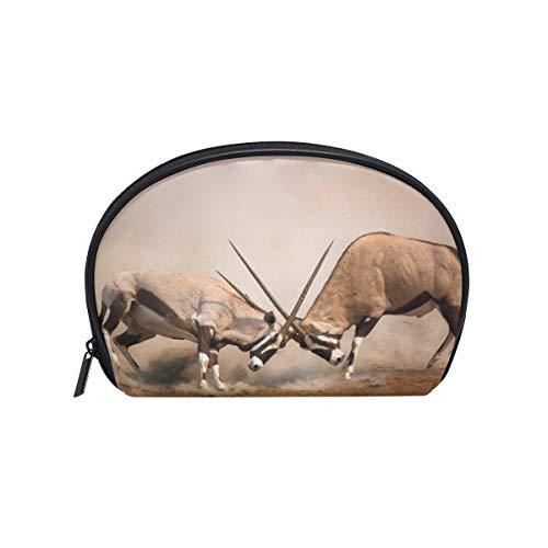Kosmetiktasche mit Reißverschluss Kosmetiktasche Clutch Tier Männlich Spießbock Kampf Reise Aufbewahrungstasche Tasche Platz für Frauen dame