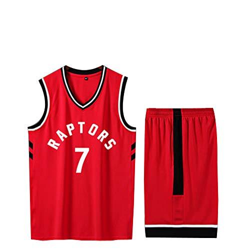 Baumwolle Reversible Tank-top (Kyle Lowry # 7 Herren Basketball Trikot, Toronto Raptors 2019 Finals Champion Basketball Kleidung, Basketball Tank Top und Shorts Set, XS-XXXL-red-XS)