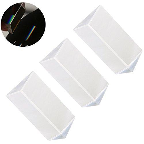 UEETEK 3pcs Kristall optischen Glas dreieckigen Prisma für Unterricht in Physik Lichtspektrum(5*3*3CM) -