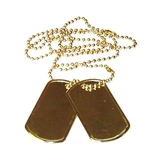 2er Set US Army Erkennungsmarke mit Ketten Hundemarke Dog Tag Farben: Schwarz, Silber oder Gold (Gold)