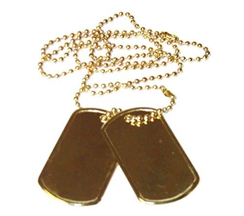 2er Set US Army Erkennungsmarke mit Ketten Hundemarke Dog Tag Farben: Schwarz, Silber oder Gold (Gold) -