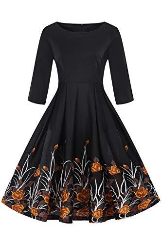 MisShow Damen Elegant Vintage Abendkleid Swing Retro Pin -