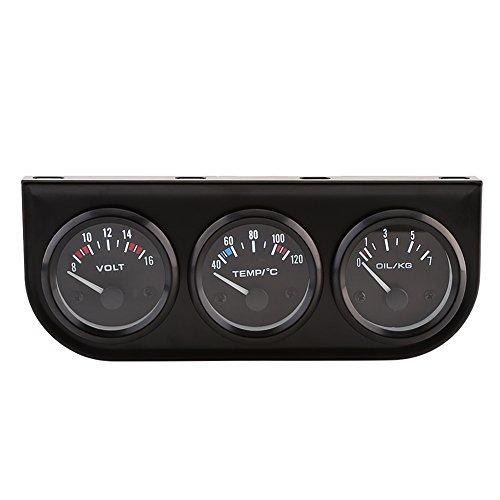 Qiilu 52mm Auto Moto Compteur électronique Kit de Jauge de Pression d'huile Température de l'eau Jauge Voltmètre pour Camion de Voiture