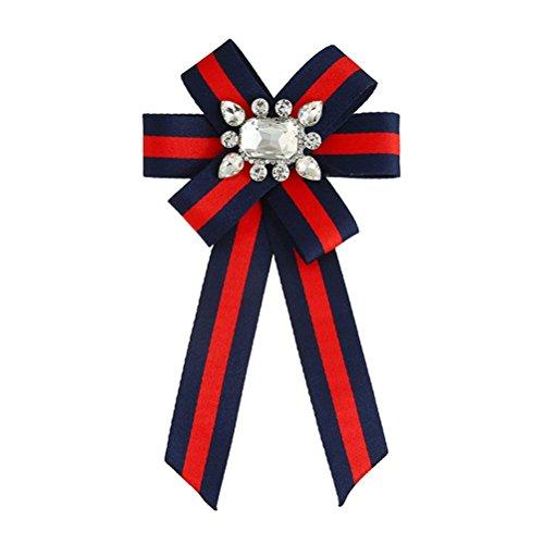 Jelinda Damen Schleifenbrosche Streifen College-Stil mit Strass Schmuckbrosche für Frau Kleidung Dekoration Rot
